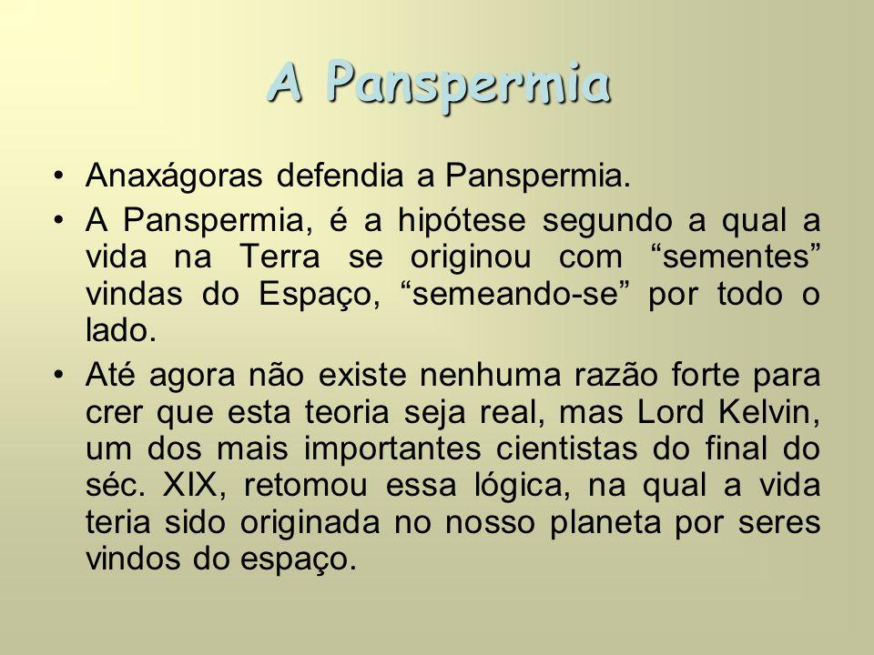 A Panspermia Anaxágoras defendia a Panspermia.