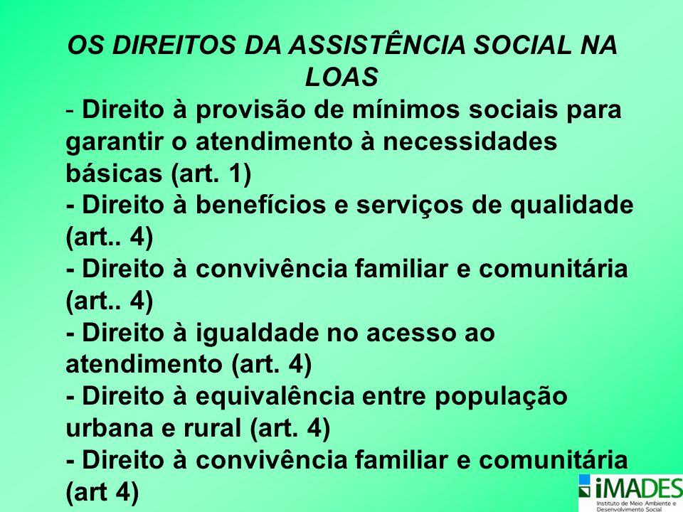 OS DIREITOS DA ASSISTÊNCIA SOCIAL NA LOAS