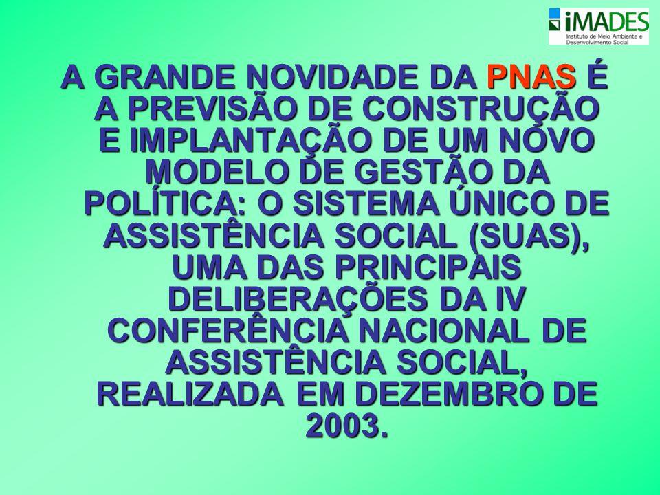 A GRANDE NOVIDADE DA PNAS É A PREVISÃO DE CONSTRUÇÃO E IMPLANTAÇÃO DE UM NOVO MODELO DE GESTÃO DA POLÍTICA: O SISTEMA ÚNICO DE ASSISTÊNCIA SOCIAL (SUAS), UMA DAS PRINCIPAIS DELIBERAÇÕES DA IV CONFERÊNCIA NACIONAL DE ASSISTÊNCIA SOCIAL, REALIZADA EM DEZEMBRO DE 2003.