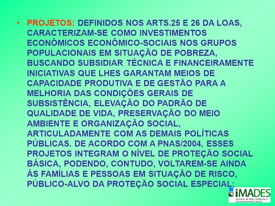 PROJETOS: DEFINIDOS NOS ARTS