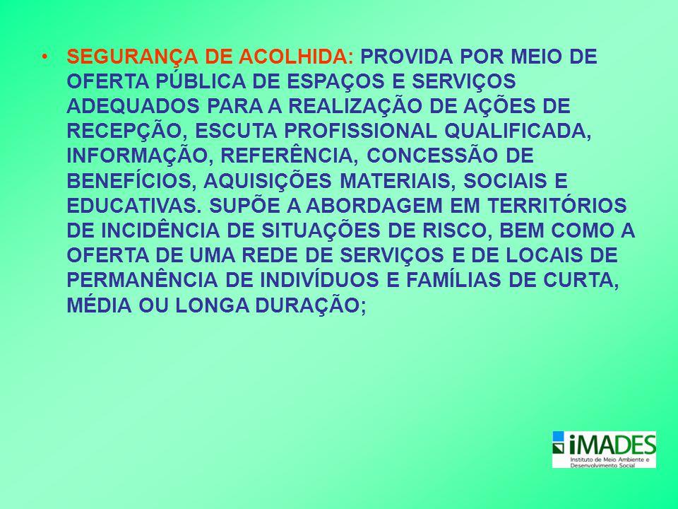 SEGURANÇA DE ACOLHIDA: PROVIDA POR MEIO DE OFERTA PÚBLICA DE ESPAÇOS E SERVIÇOS ADEQUADOS PARA A REALIZAÇÃO DE AÇÕES DE RECEPÇÃO, ESCUTA PROFISSIONAL QUALIFICADA, INFORMAÇÃO, REFERÊNCIA, CONCESSÃO DE BENEFÍCIOS, AQUISIÇÕES MATERIAIS, SOCIAIS E EDUCATIVAS.