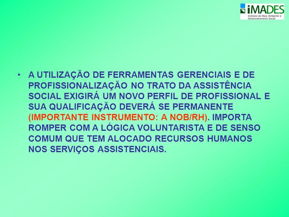 A UTILIZAÇÃO DE FERRAMENTAS GERENCIAIS E DE PROFISSIONALIZAÇÃO NO TRATO DA ASSISTÊNCIA SOCIAL EXIGIRÁ UM NOVO PERFIL DE PROFISSIONAL E SUA QUALIFICAÇÃO DEVERÁ SE PERMANENTE (IMPORTANTE INSTRUMENTO: A NOB/RH).