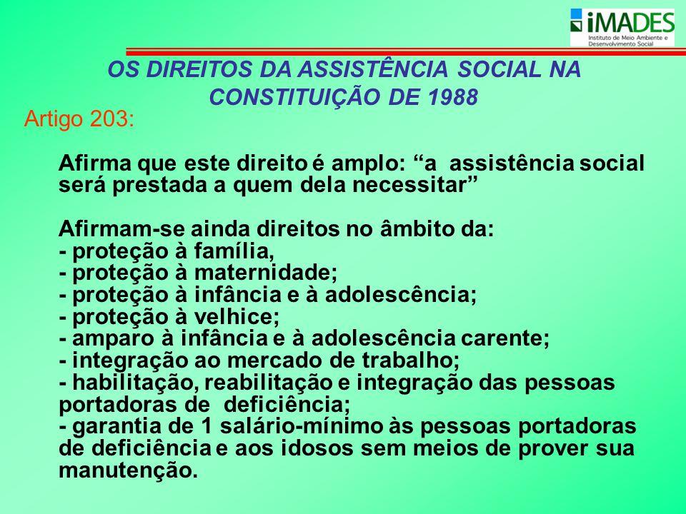 OS DIREITOS DA ASSISTÊNCIA SOCIAL NA CONSTITUIÇÃO DE 1988