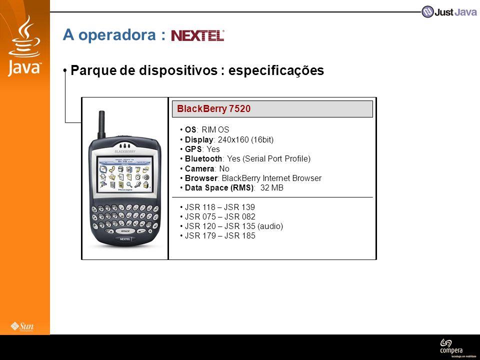 A operadora : Parque de dispositivos : especificações BlackBerry 7520