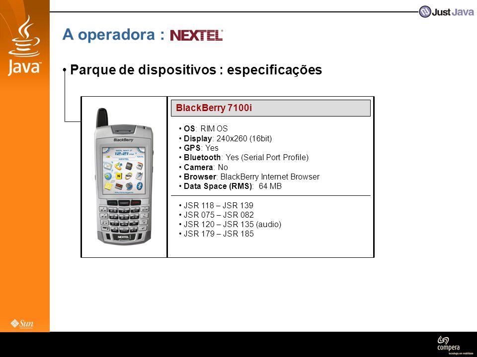 A operadora : Parque de dispositivos : especificações BlackBerry 7100i