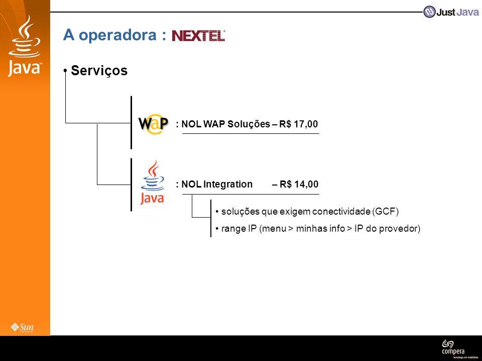 A operadora : Serviços : NOL WAP Soluções – R$ 17,00