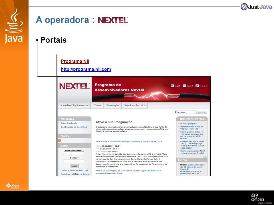 A operadora : Portais Programa NII http://programa.nii.com