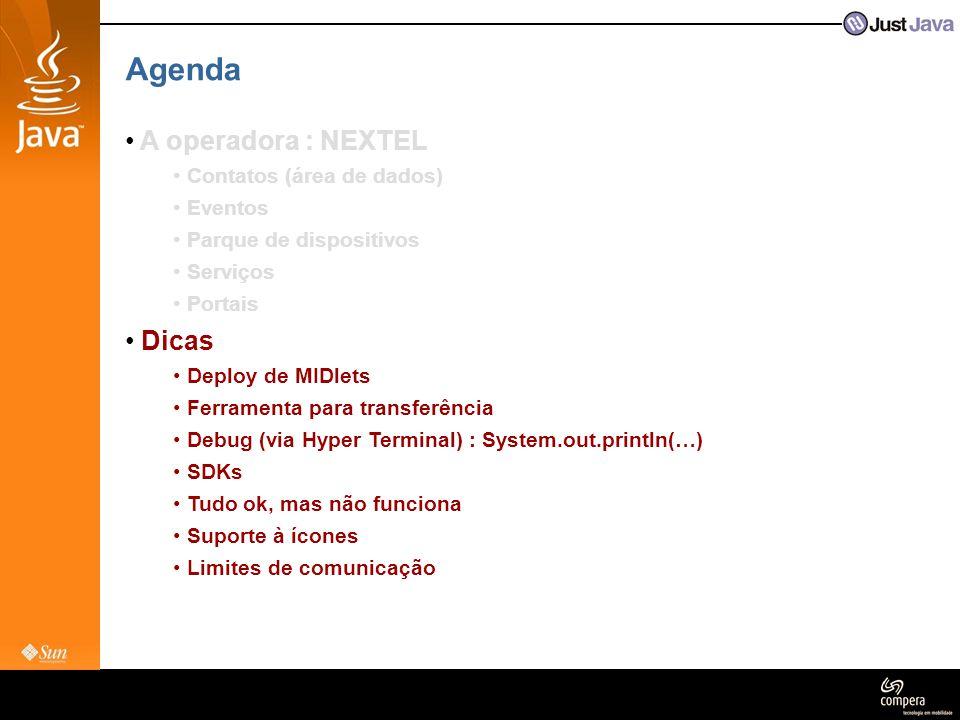 Agenda A operadora : NEXTEL Dicas Contatos (área de dados) Eventos