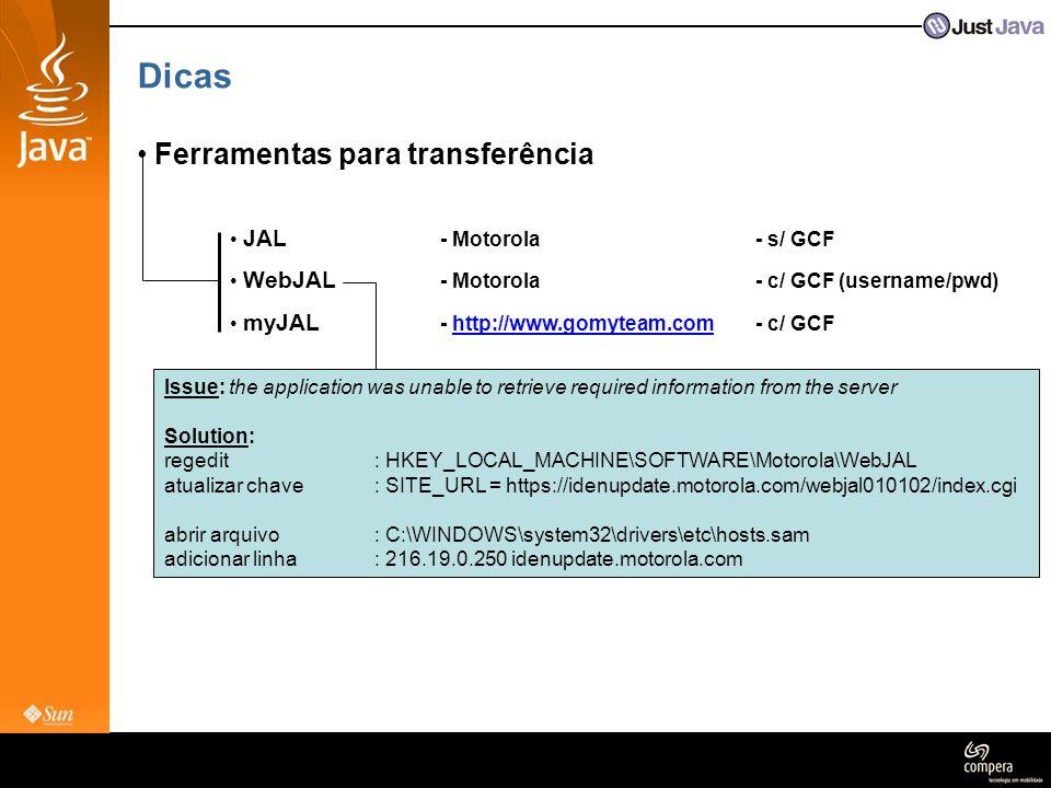 Dicas Ferramentas para transferência JAL - Motorola - s/ GCF