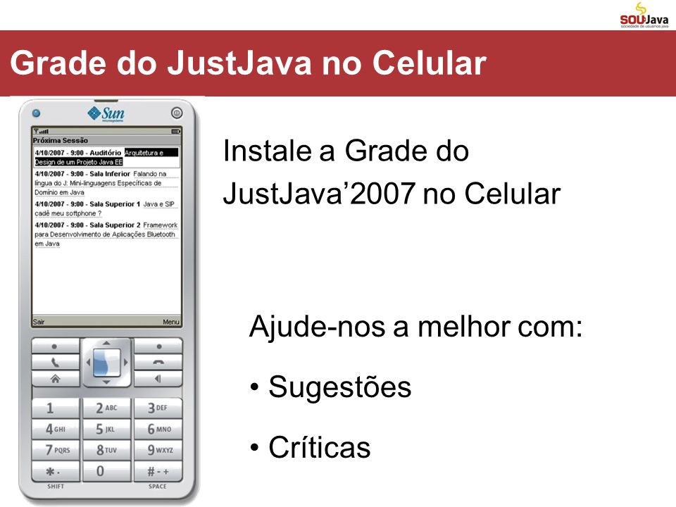 Grade do JustJava no Celular