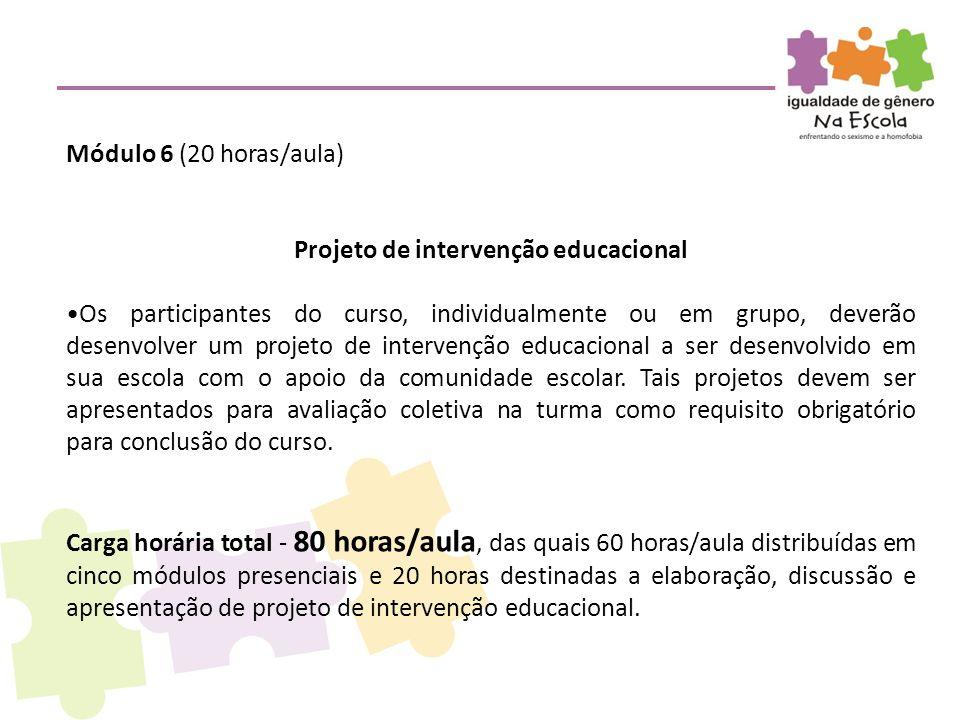 Projeto de intervenção educacional