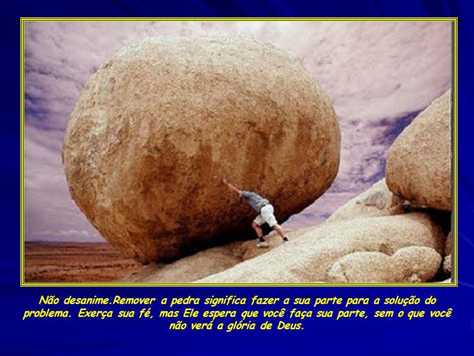Não desanime.Remover a pedra significa fazer a sua parte para a solução do problema.
