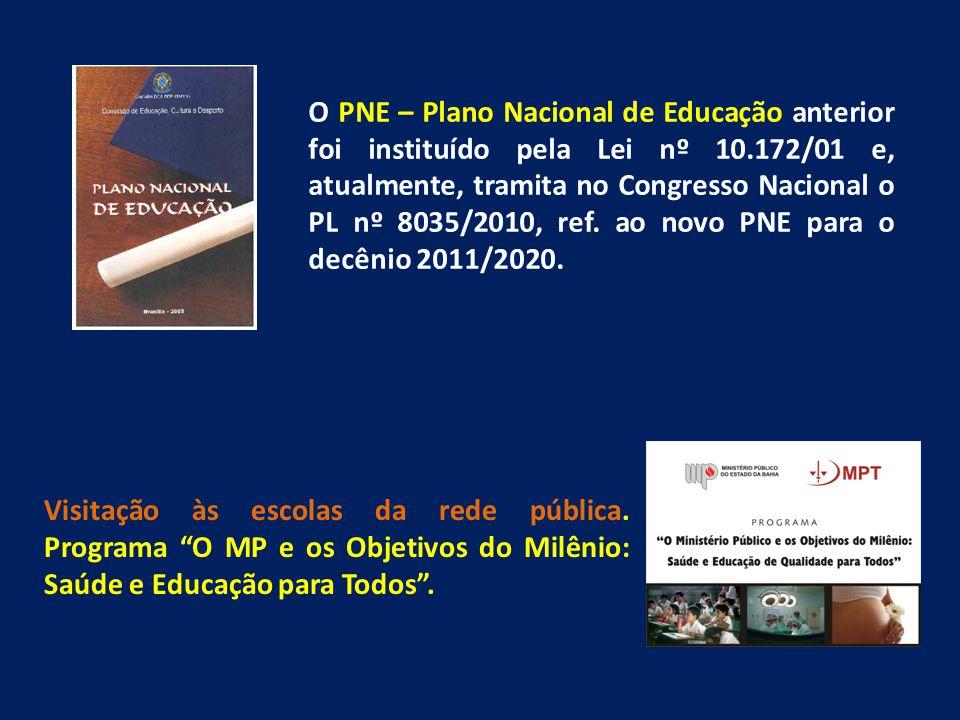 O PNE – Plano Nacional de Educação anterior foi instituído pela Lei nº 10.172/01 e, atualmente, tramita no Congresso Nacional o PL nº 8035/2010, ref. ao novo PNE para o decênio 2011/2020.