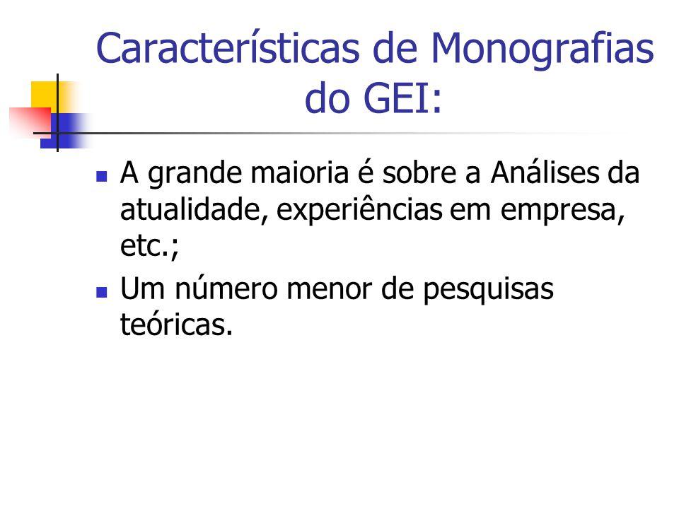 Características de Monografias do GEI: