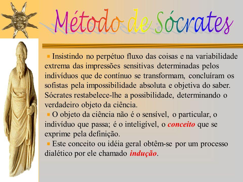 Método de Sócrates Insistindo no perpétuo fluxo das coisas e na variabilidade. extrema das impressões sensitivas determinadas pelos.