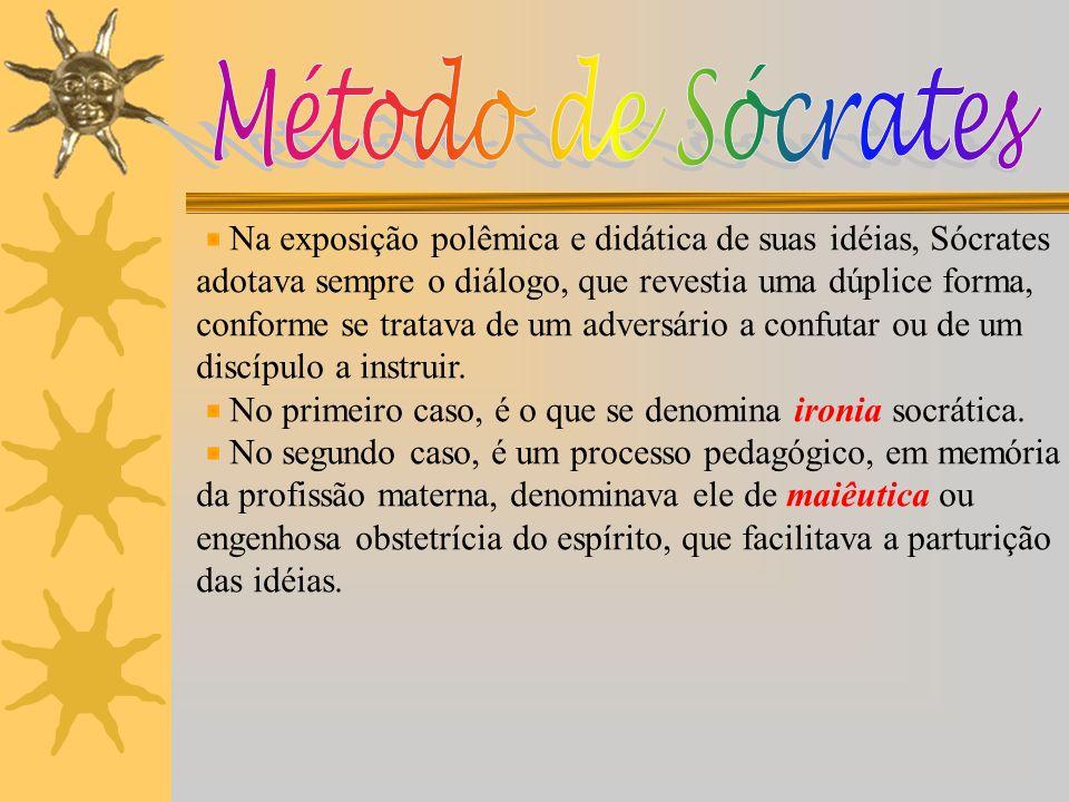 Método de Sócrates Na exposição polêmica e didática de suas idéias, Sócrates. adotava sempre o diálogo, que revestia uma dúplice forma,