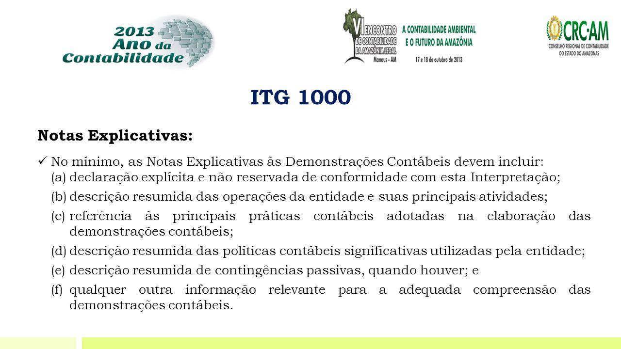 ITG 1000 Notas Explicativas: