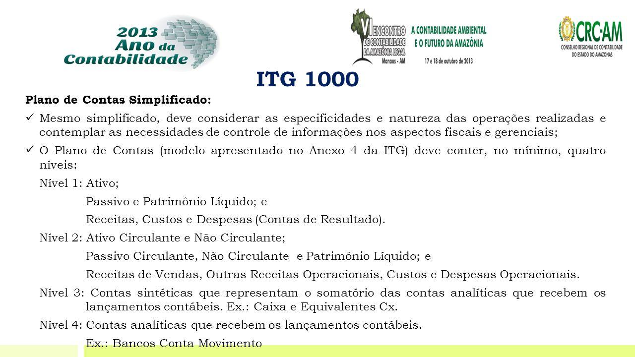 ITG 1000 Plano de Contas Simplificado: