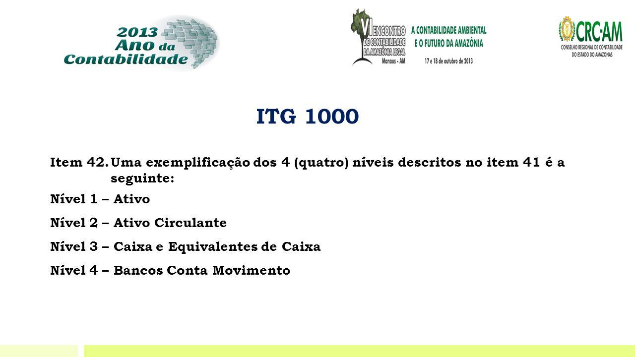 ITG 1000 Item 42. Uma exemplificação dos 4 (quatro) níveis descritos no item 41 é a seguinte: Nível 1 – Ativo.