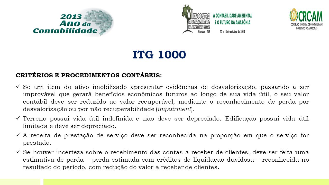 ITG 1000 CRITÉRIOS E PROCEDIMENTOS CONTÁBEIS:
