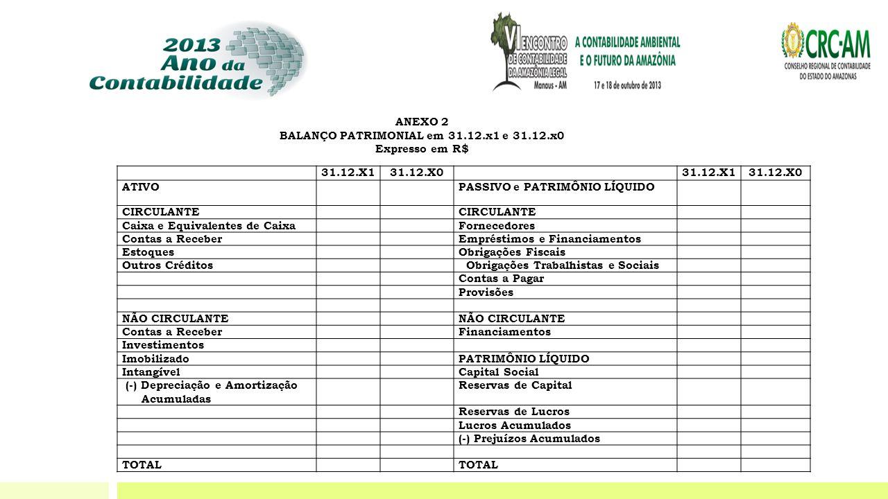BALANÇO PATRIMONIAL em 31.12.x1 e 31.12.x0