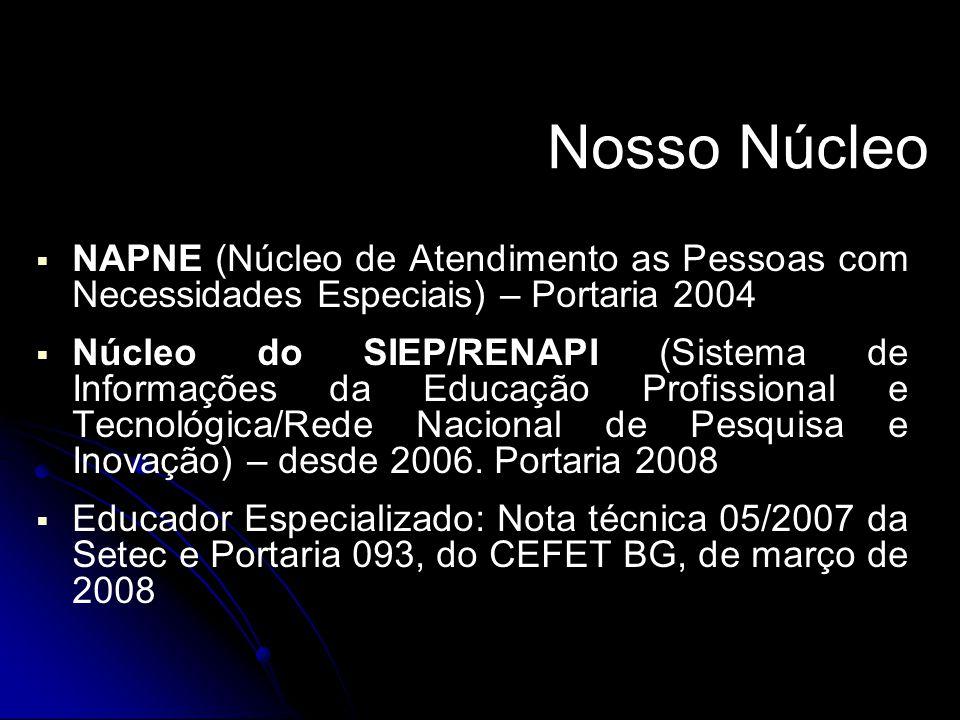 Nosso Núcleo NAPNE (Núcleo de Atendimento as Pessoas com Necessidades Especiais) – Portaria 2004.