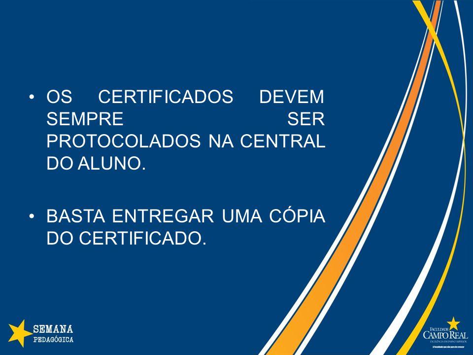 OS CERTIFICADOS DEVEM SEMPRE SER PROTOCOLADOS NA CENTRAL DO ALUNO.