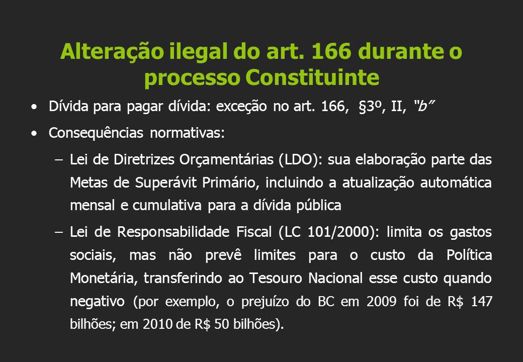 Alteração ilegal do art. 166 durante o processo Constituinte