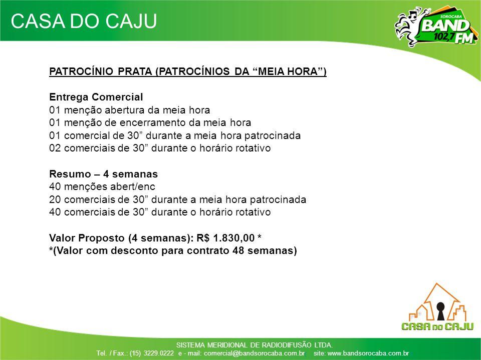 CASA DO CAJU PATROCÍNIO PRATA (PATROCÍNIOS DA MEIA HORA )