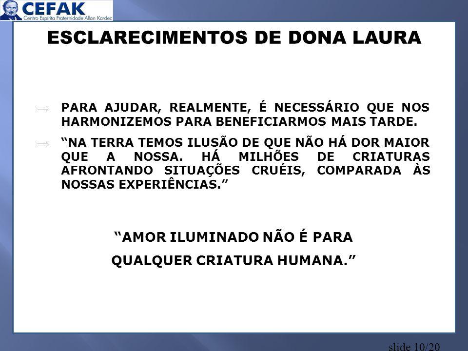 ESCLARECIMENTOS DE DONA LAURA