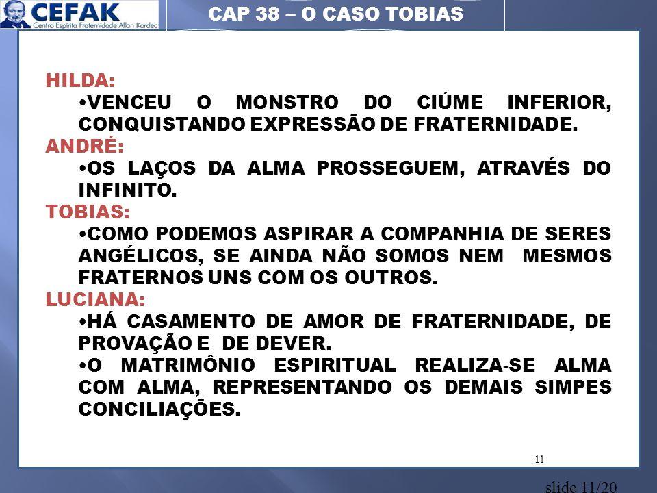 CAP 38 – O CASO TOBIAS HILDA: VENCEU O MONSTRO DO CIÚME INFERIOR, CONQUISTANDO EXPRESSÃO DE FRATERNIDADE.