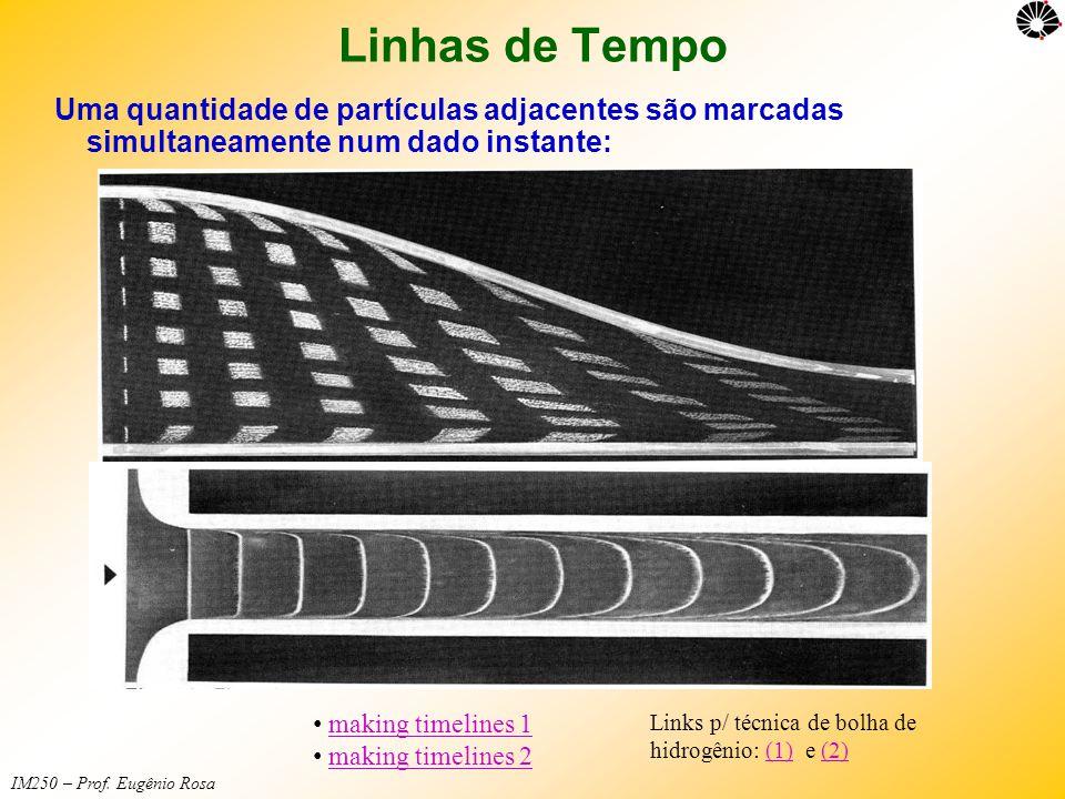 Linhas de Tempo Uma quantidade de partículas adjacentes são marcadas simultaneamente num dado instante: