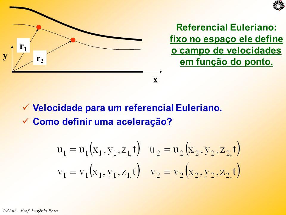 y x. r1. r2. Referencial Euleriano: fixo no espaço ele define o campo de velocidades em função do ponto.