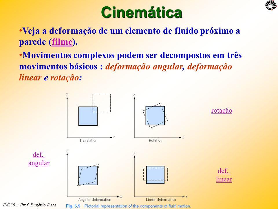 Cinemática Veja a deformação de um elemento de fluido próximo a parede (filme).