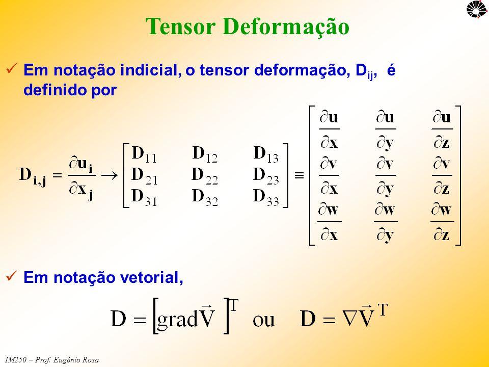 Tensor Deformação Em notação indicial, o tensor deformação, Dij, é definido por.