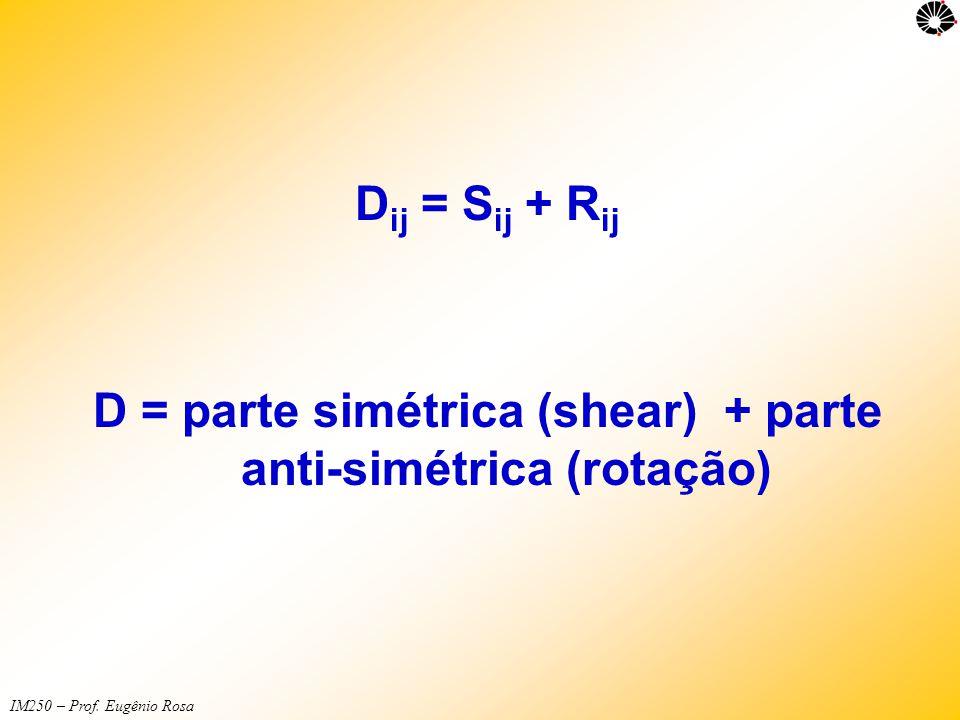 D = parte simétrica (shear) + parte anti-simétrica (rotação)