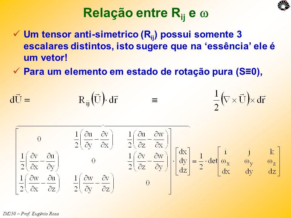 Relação entre Rij e w Um tensor anti-simetrico (Rij) possui somente 3 escalares distintos, isto sugere que na 'essência' ele é um vetor!