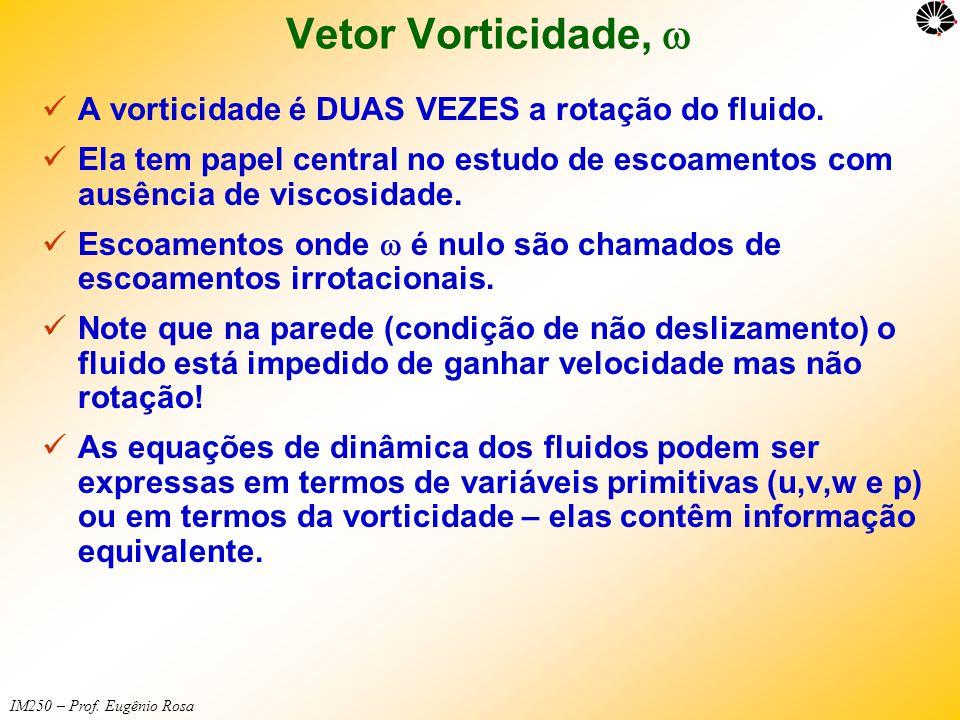 Vetor Vorticidade, w A vorticidade é DUAS VEZES a rotação do fluido.