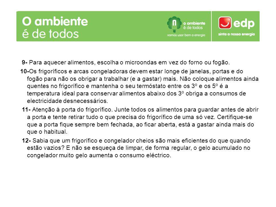 9- Para aquecer alimentos, escolha o microondas em vez do forno ou fogão.