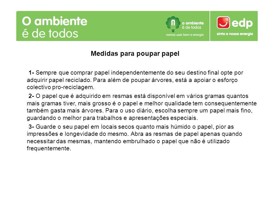 Medidas para poupar papel