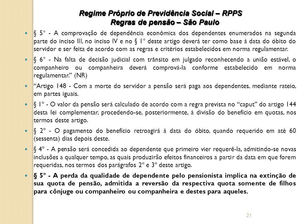 Regime Próprio de Previdência Social – RPPS Regras de pensão – São Paulo