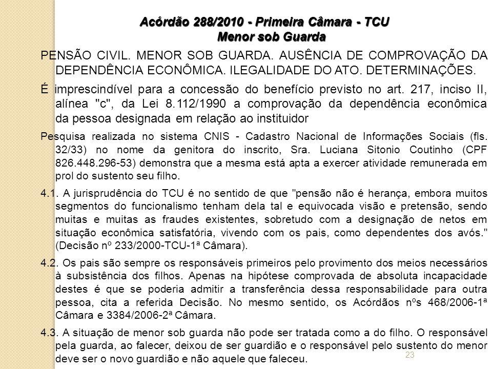 Acórdão 288/2010 - Primeira Câmara - TCU Menor sob Guarda
