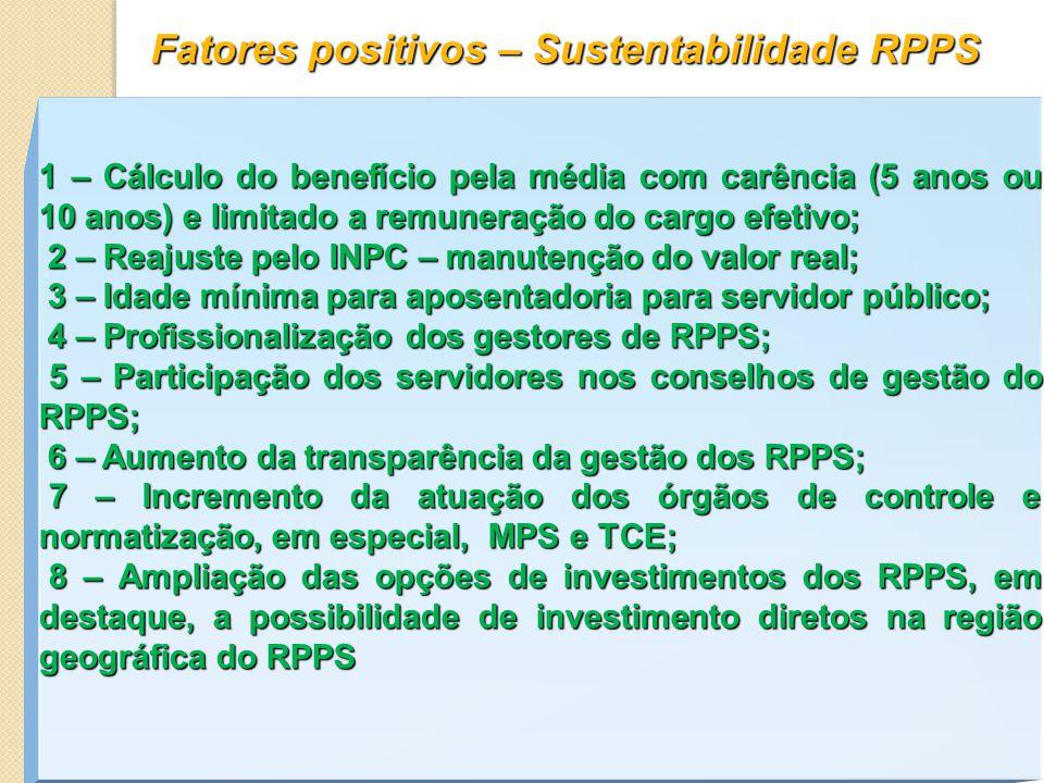 Fatores positivos – Sustentabilidade RPPS