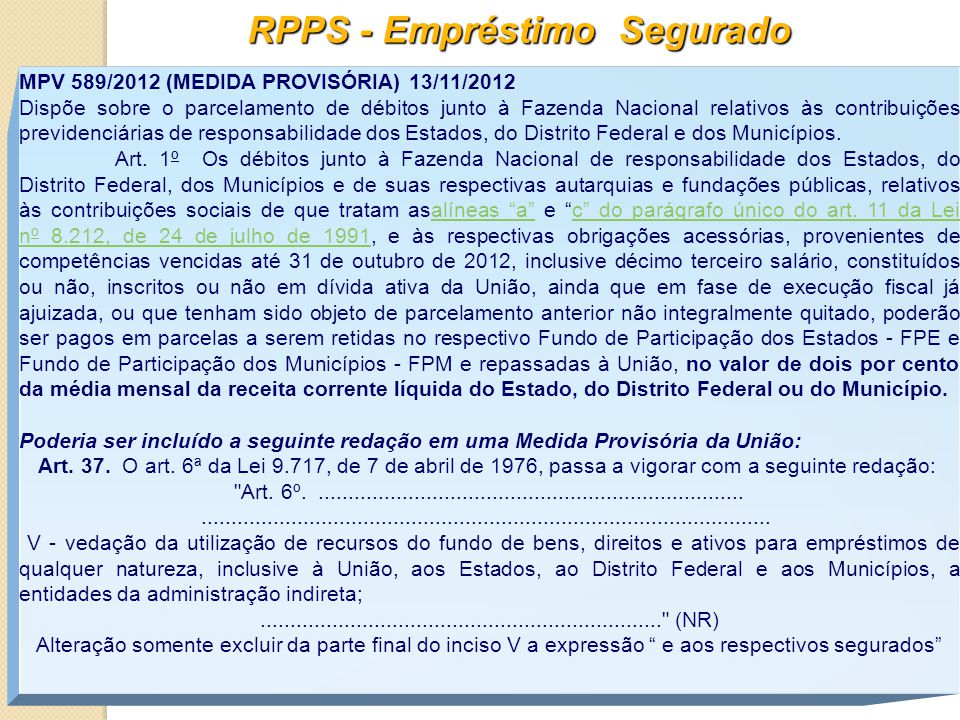 RPPS - Empréstimo Segurado