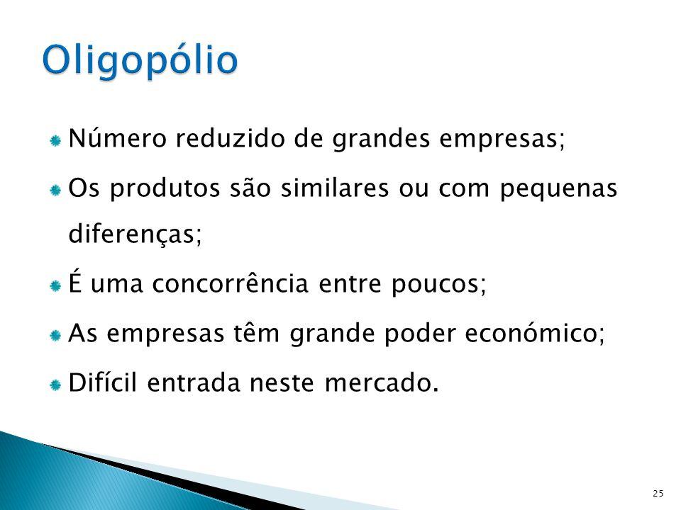 Oligopólio Número reduzido de grandes empresas;