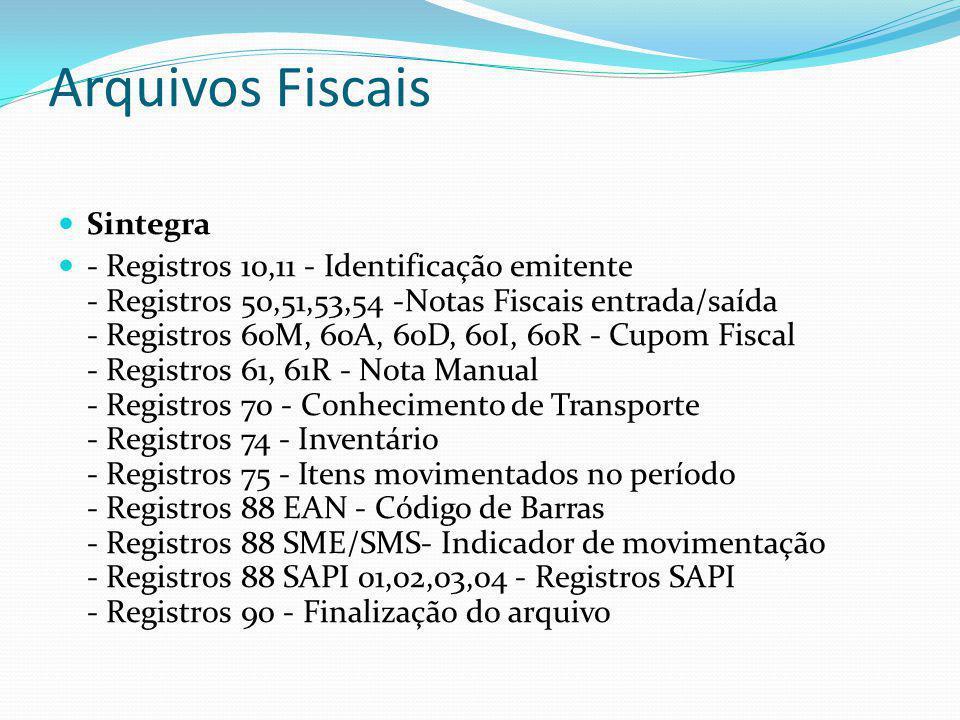 Arquivos Fiscais Sintegra