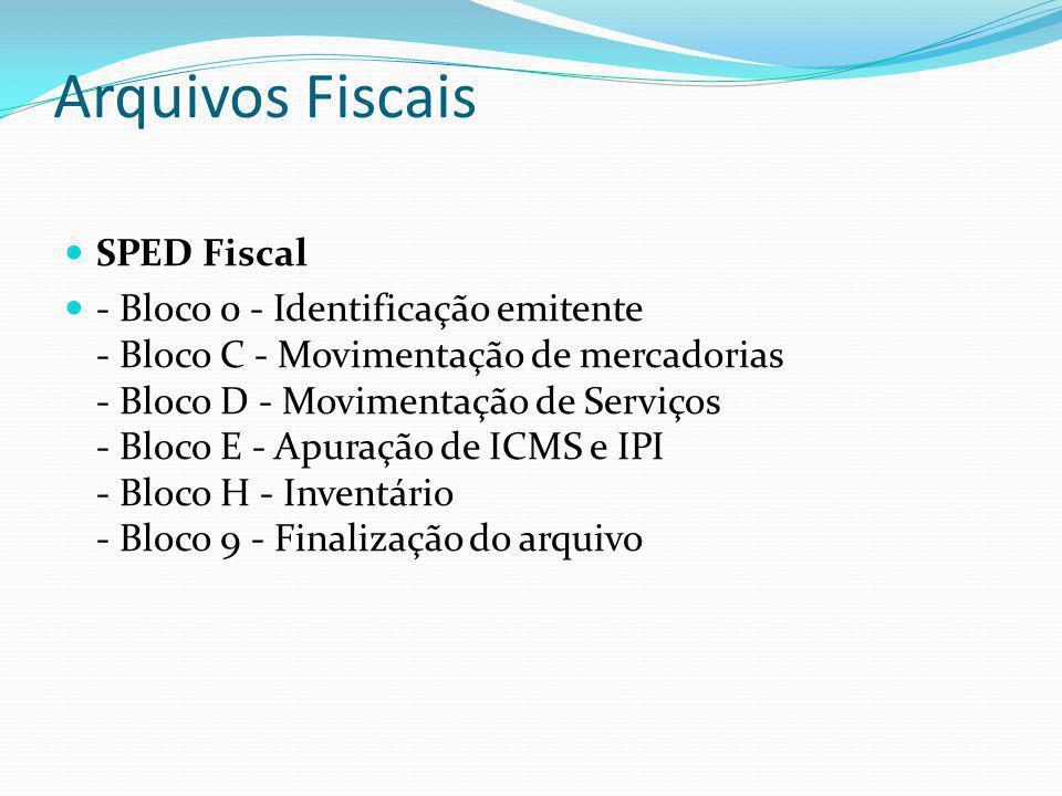 Arquivos Fiscais SPED Fiscal
