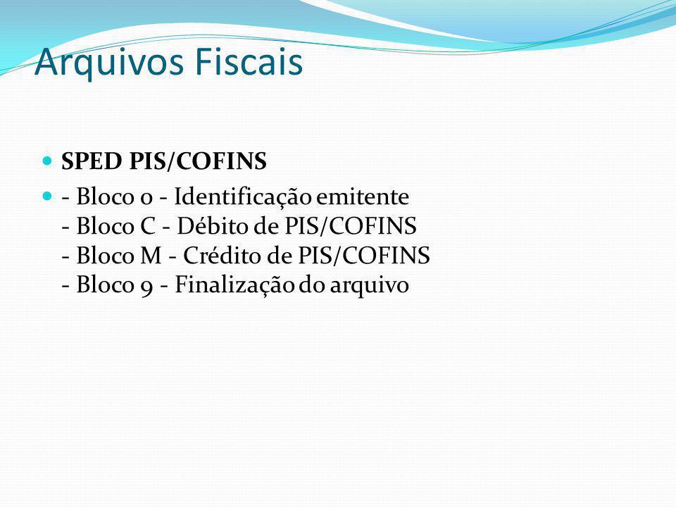 Arquivos Fiscais SPED PIS/COFINS