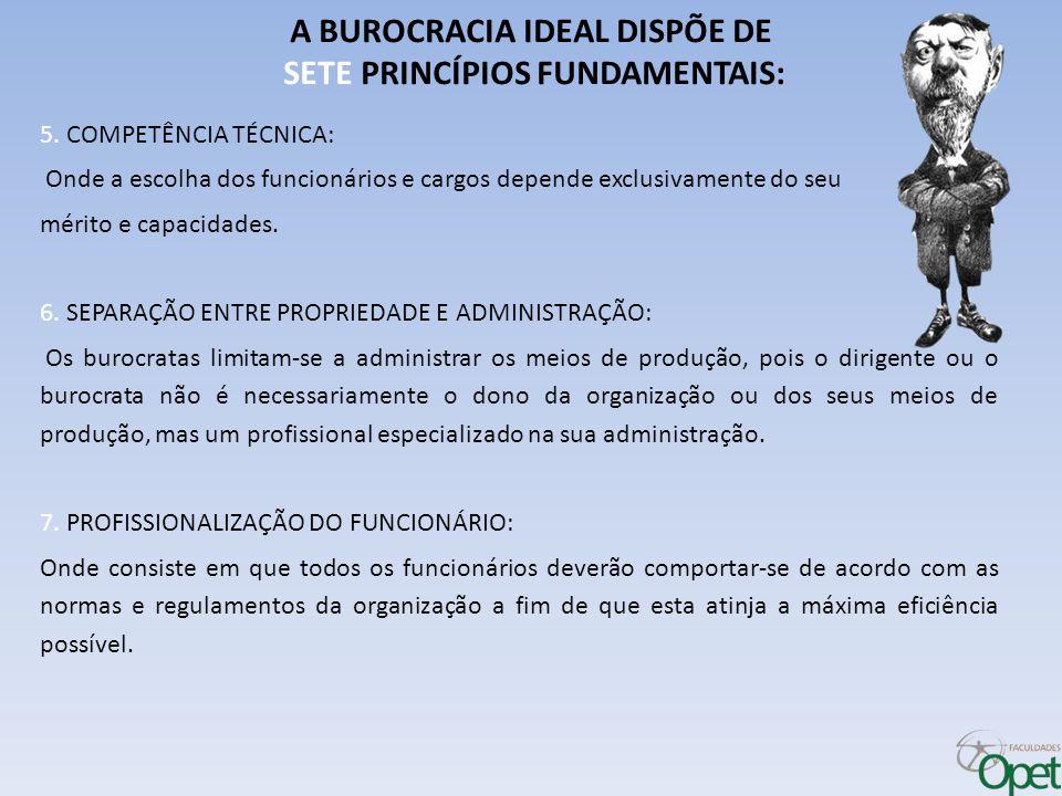 A BUROCRACIA IDEAL DISPÕE DE SETE PRINCÍPIOS FUNDAMENTAIS: