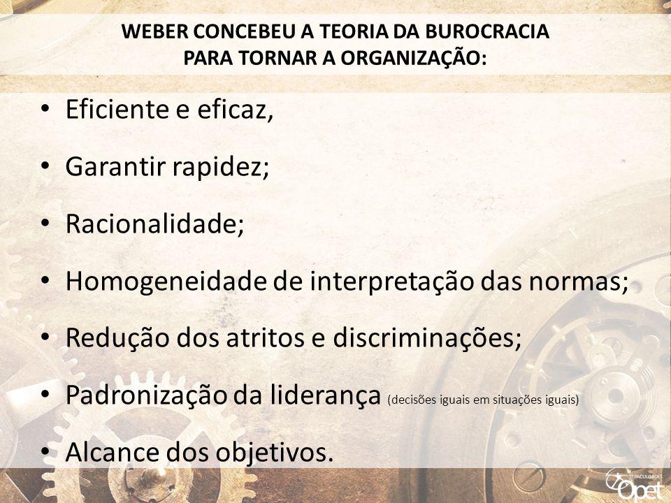 WEBER CONCEBEU A TEORIA DA BUROCRACIA PARA TORNAR A ORGANIZAÇÃO: